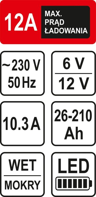 Akumulatora lādētājs 6/12V 12A 210Ah LED (82544)