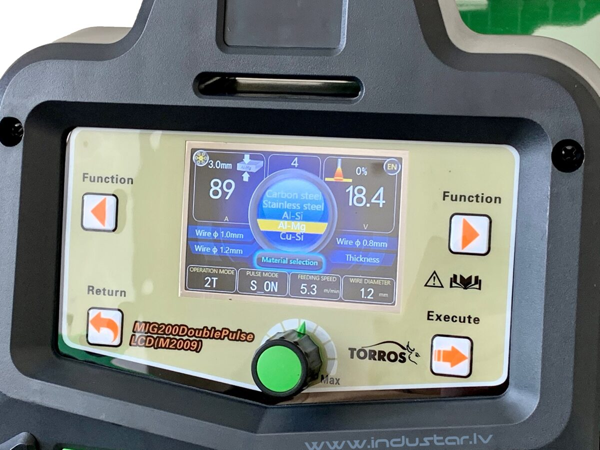 TORROS MIG 200 DoublePulse LCD metināšanas iekārta aparāts (pusautomāts)