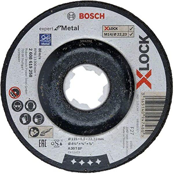 Bosch X-Lock Slīpēšanas disks metālam - izliekts, 125x6x22.23 mm (A 30 T BF)