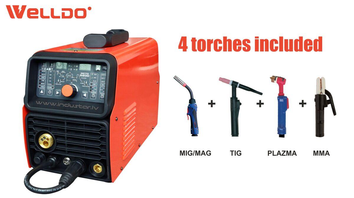 Welldo MCTD 520D MIG/MAG MMA TIG DC Pulse metināšanas iekārta + Plazmas griešanas aparāts