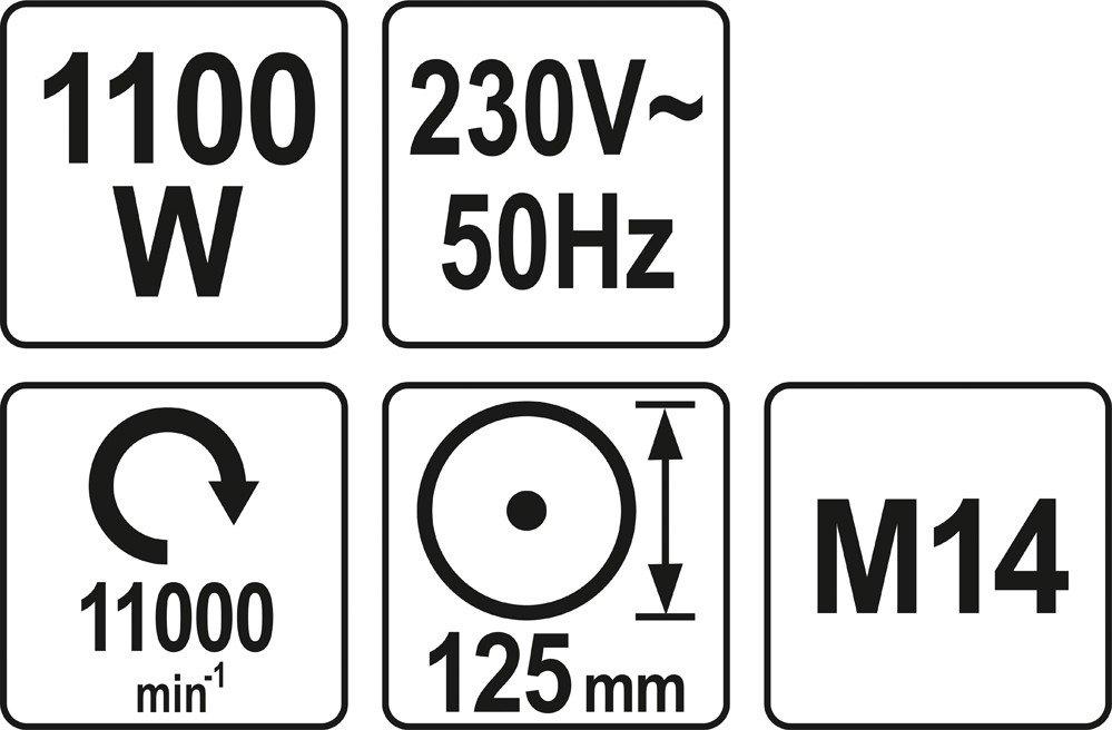 Leņķā slīpmašīna YATO 1100W 125mm YT-82100