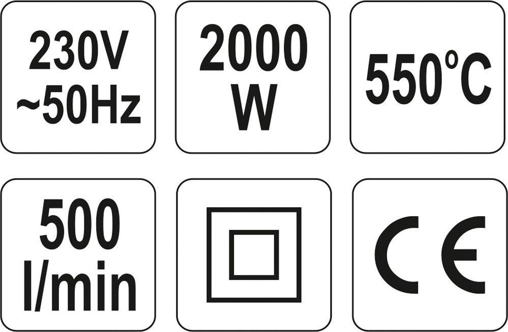 Fēns YATO 2000W ar aksesuāriem koferī YT-82291